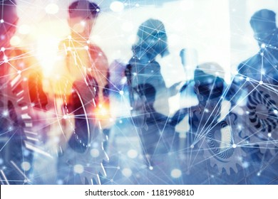 Business people work together in office with internet network effects and gears system. Concept of integration, teamwork and partnership. double exposure