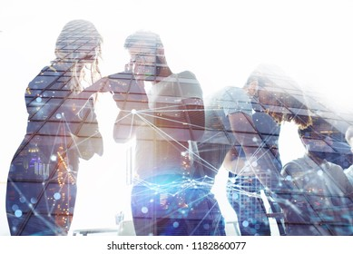 Business people work together in office. Concept of teamwork and partnership. double exposure
