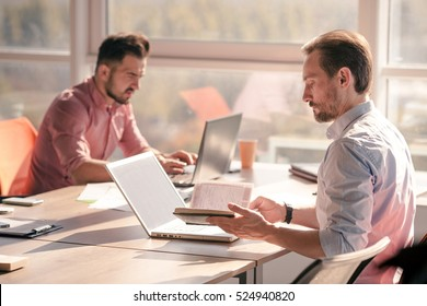 Business people working in board room on laptop computer in office. Handsome men looking for proper legal laws for establishing company, enterprise, firm.