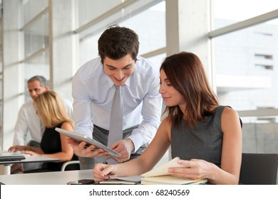 Business people working in the office with agenda