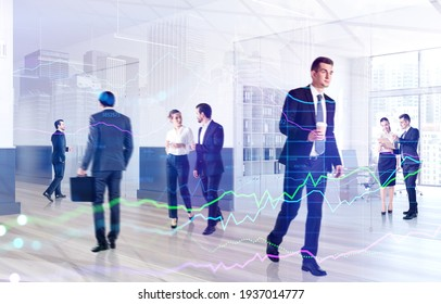 Business people working and rushing in office with cup of coffee. Concept of lunch time and coffee break. Working process at financial consulting international panoramic office. Double exposure