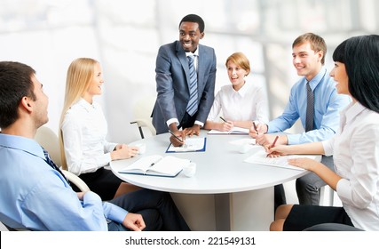 Business people working together. A diverse work group.