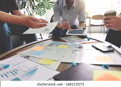 Business people writing on sticky notes for colleagues thinking strategy business plan or over problem in coworking office, Diverse Brainstorm Business Meeting Concept - Shutterstock ID 1681119271