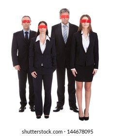 Business People's Eyes Covered With Ribbon Isolated Over White Background