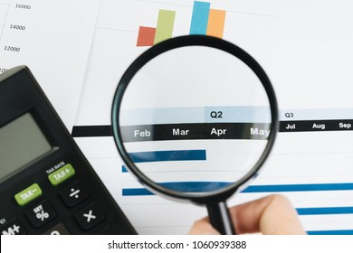 Business performance review by month or quarter concept, hand holding magnifying glass on Q1 and Q2 report with calculator and bar graph on table.