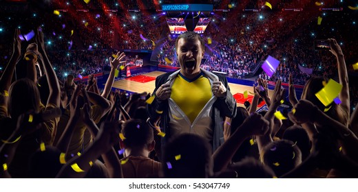 Business person in basketball court Fans on stadium basketball game Confetti and tinsel