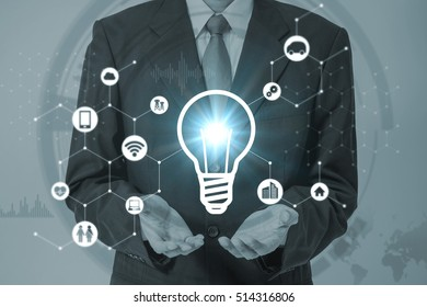 business person and inspiration symbol, various industry and technology icons, technological concept abstract