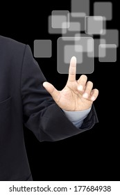 Business person pushing symbols on a touch screen