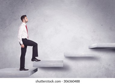 Business person stepping up a staircase