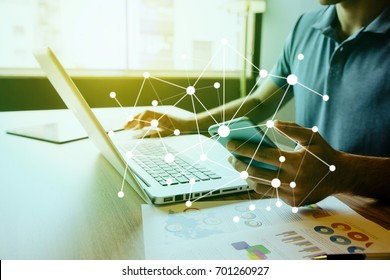 business person using digital devices. IoT(Internet of Things). ICT(Information Communication Technology). mixed media.