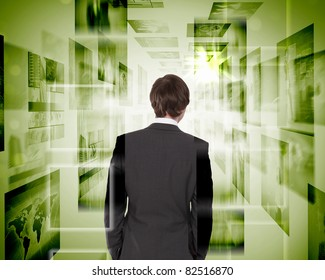 business person with virtual digital screens all around