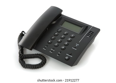 Business phone close up on white