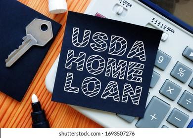 Business photo shows hand written text usda home loan