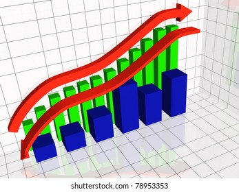 Business picture about analysis - graph, arrows and bars.