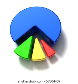 business pie graph on white background - top view