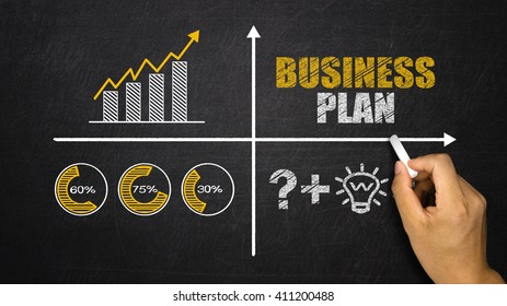 business plan concept with financial chart drawn on blackboard