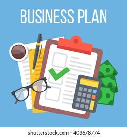 Business plan. Creative flat illustration and flat design graphic for websites, web banners, infographics, printed materials. Top view. Modern illustration
