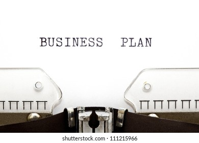 Business Plan headline printed on an old typewriter.