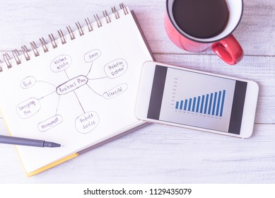Business plan idea sketch and analytics graph on mobile phone with a cup of coffee on table in cafe shop