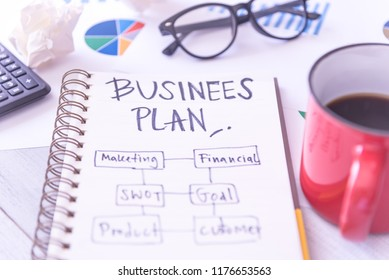 Business plan idea sketch with bar chart document and a cup of coffee. Business planning concept