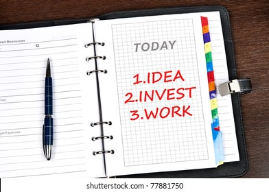 Business plan message on today page