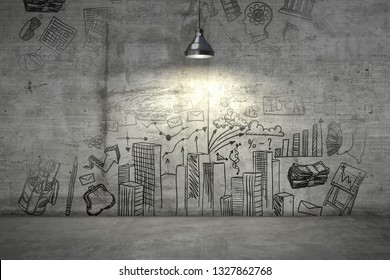 A business plan on a wall illuminated with single lamp from above. 3d render