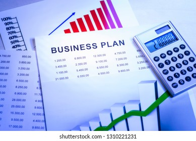 Business plan with tables, charts and a calculator.
