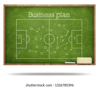 Business plan text and soccer fied on blackboard