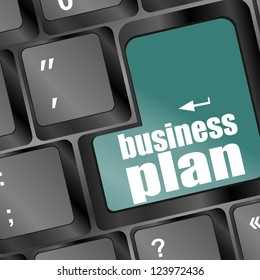 business plan word key on computer keyboard, raster