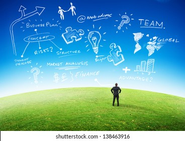 Business Planning Concept, Businessman looking at plans in the sky.