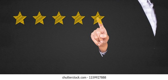 business pointing five star to increase the rating.