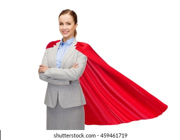 business, power and people concept - young smiling businesswoman in red superhero cape