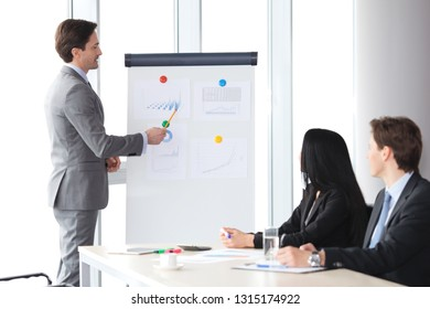 Business presentation in office , spreaker showing reports at whiteboard