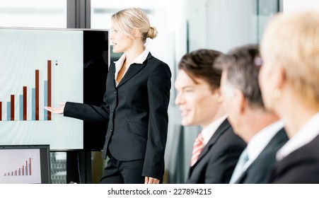 Business - presentation for the team, female, colleague is standing on the flipchart in office