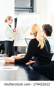 Business - presentation within a team, a female colleague is standing on the flipchart and explaining the development