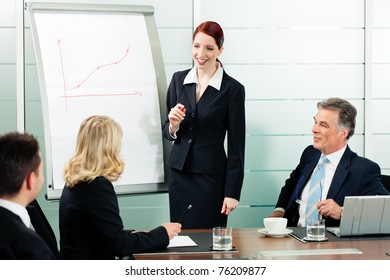 Business - presentation within a team; a female colleague is standing on the flipchart