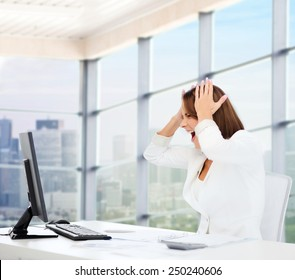business, problem, crisis, stress and education concept - businesswoman screaming in front of computer over office window background