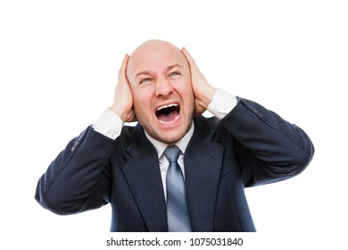 Business problems and failure at work concept - loud shouting or screaming tired stressed businessman hands covering ears for silence white isolated