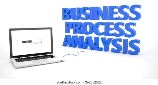 Business Process Analysis - laptop notebook computer connected to a word on white background. 3d render illustration.