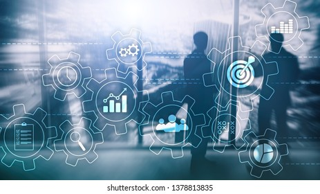 Business process automation concept. Gears and icons on abstract background.