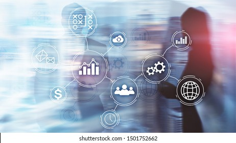 Business process automation concept on blurred background.