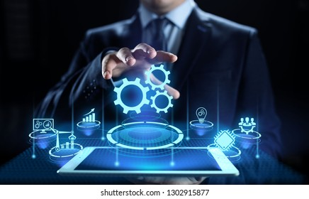 Business process automation industrial technology innovation optimisation concept.
