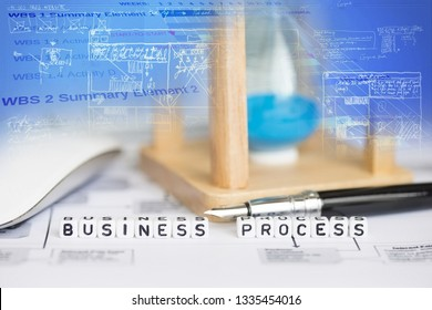Business process conceptual image with hourglass and abstract graphs on background