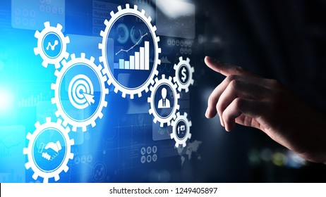 Business process management, automation workflow, document validation, connected gear cogs with icons, technology concept.