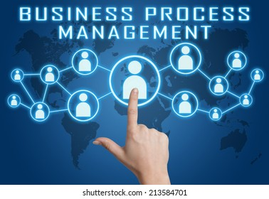 Business Process Management concept with hand pressing social icons on blue world map background.
