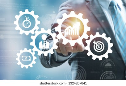 Business process management and workflow automation diagram with gears and icons with flowchart in background. Manager touching interface