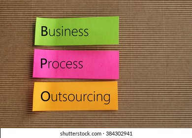 Business Process Outsourcing (BPO) text on colorful sticky notes