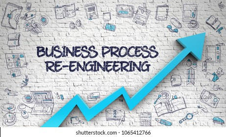 Business Process Re-Engineering - Increase Concept with Hand Drawn Icons Around on White Wall Background. Business Process Re-Engineering - Line Style Illustration with Doodle Elements. 3d