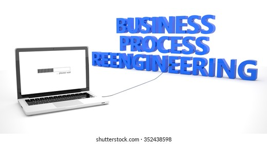 Business Process Reengineering - laptop notebook computer connected to a word on white background. 3d render illustration.