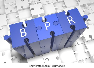 Business Process Reengineering - puzzle 3d render illustration with text on blue jigsaw pieces stick out of white pieces